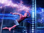 Spider-man jumping round electric charges