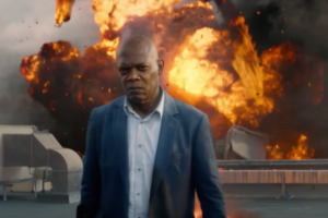 Samuel L Jackson walks away from an explosion